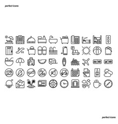 hotel and travel outline icons perfect pixel vector image