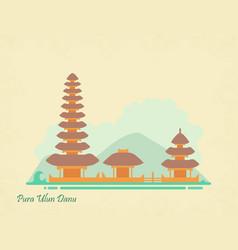 Indonesia landmark ulun danu temple in bali vector