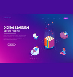 Isometric concept for digital reading e-classroom vector