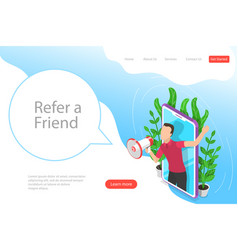 isometric flat landing page template vector image