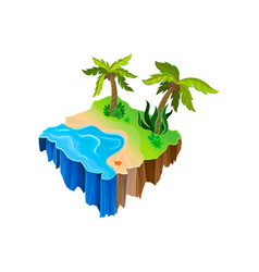 Isometric nature landscape with water sandy shore vector