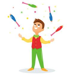 juggler performs a circus trick vector image