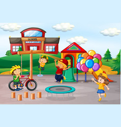 Kids playing at school playground vector