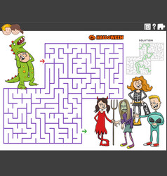 Maze game with cartoon kids at the halloween party vector