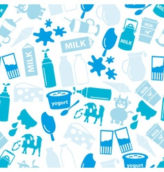 Milk and milk product blue theme seamless pattern vector