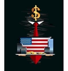 Money in hands of the secret person vector