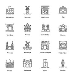 Monuments line icons pack vector