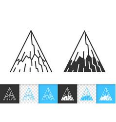 Mountain simple black line climbing icon vector