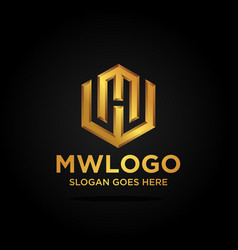 mw letter logo template vector image