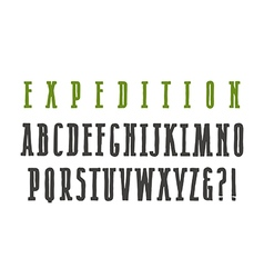Narrow serif font in the style of hand drawn vector