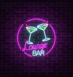 Neon cocktails lounge bar sign on dark brick wall vector