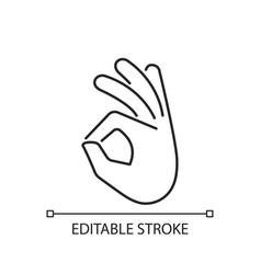 Okay gesture linear icon vector