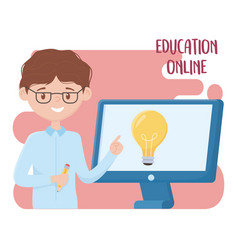 Online education teacher teaching lesson with the vector