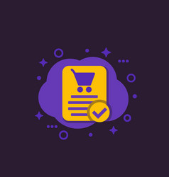 Online order purchase completed e-commerce icon vector