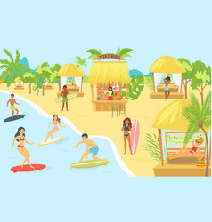people surfing in sea at beach or seashore vector image