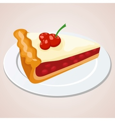 Piece of cherry pie vector