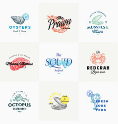 Premium quality retro seafood signs or logo vector