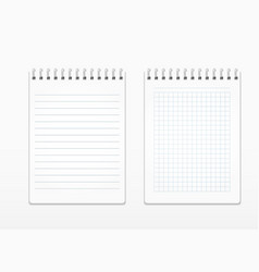 realistic notepads with white sheets in line and vector image