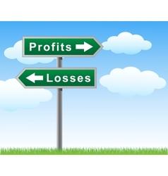 Road sign profits losses vector