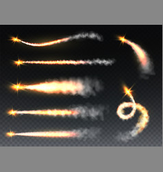 rocket smoke trailing fume with flame jets vector image