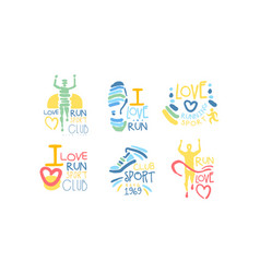 running sport club logo set i love run retro hand vector image