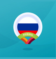 russia flag map location pin european football vector image