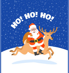 santa claus with presents riding christmas deer vector image