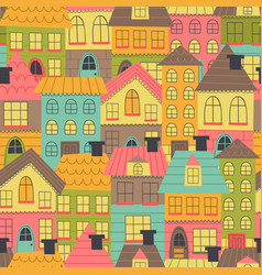 Seamless pattern with many houses vector