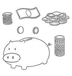 set money cartoon vector image
