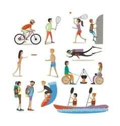 set of characters summer outdoor vector image