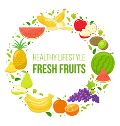 Set of fruits healthy lifestyle vector