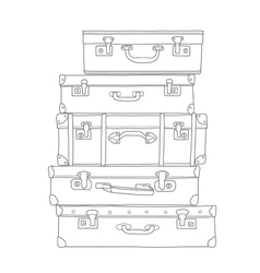 sketch suitcases on white background vector image