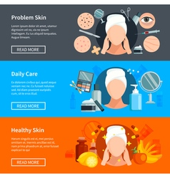 Skin Care Flat Horizontal Banners vector