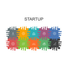 startup cartoon template with flat elements vector image