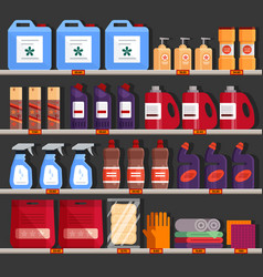 store shelves with household chemical products vector image