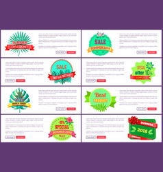 summer 2018 seasonal discount label tropical style vector image