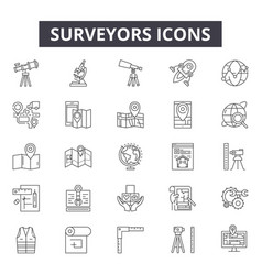 Surveyors line icons signs set linear vector