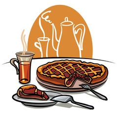 Sweet pie and tea vector