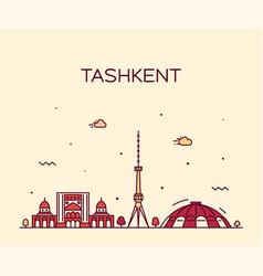 tashkent skyline uzbekistan a linear style vector image