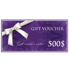 Template design of purple gift voucher or vector