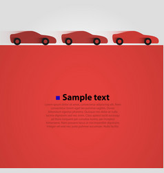 three cars in the race red background vector image