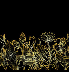 tropical gold seamless border vector image