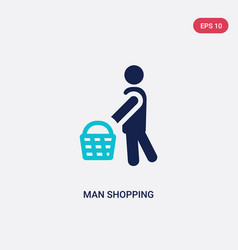 Two color man shopping icon from behavior concept vector