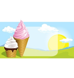 two ice cream design on natural background vector image