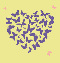 Ultra violet heart shape made from butterfly vector