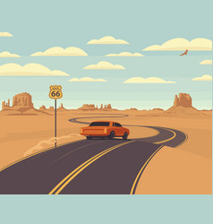 us route 66 western landscape with a road sign vector image