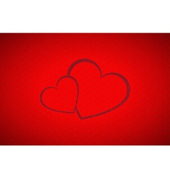 Valentines background simple two hearts vector