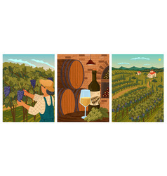 Vineyard landscape and winery field with villa vector