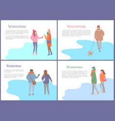 walking crowd people in wintertime set vector image