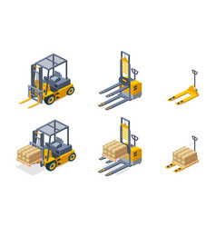 Warehouse hydraulic machines isometric set vector